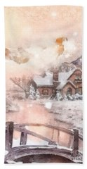 Hand Towel featuring the painting Frosty Creek by Mo T