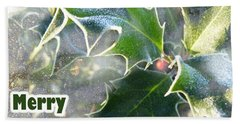 Bath Towel featuring the photograph Frosty Holly by LemonArt Photography