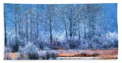 Hand Towel featuring the digital art Frosty Morning At The Marsh Photo Art by Sharon Talson