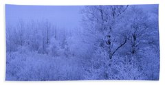 Frosty Trees At Night Bath Towel