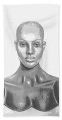 Bald Superficial Woman Mannequin Art Drawing  Bath Towel