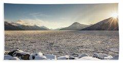Frozen Fjord Sunrise Bath Towel