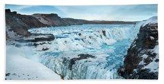 Frozen Gullfoss Bath Towel