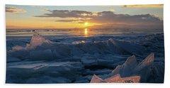 Frozen Sevan Lake And Icicles At Sunset, Armenia Bath Towel