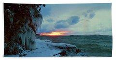 Frozen Sunset In Cape Vincent Bath Towel