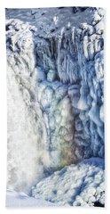 Frozen Waterfall Gullfoss Iceland Hand Towel by Matthias Hauser
