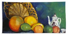 Bath Towel featuring the painting Fruit On Doily by Marlene Book