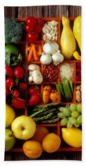 Fruits And Vegetables In Compartments Bath Towel by Garry Gay