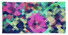 Fruity Rose   Fancy Colorful Abstraction Pattern Design  Green Pink Blue  Hand Towel