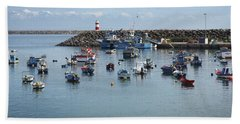 Fishing Boats In Sines Harbot, Portugal Hand Towel