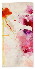 Fuchsia And Orange Color Splash Hand Towel