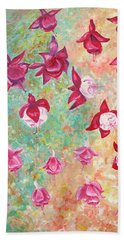 Fuchsias Bath Towel by Elizabeth Lock
