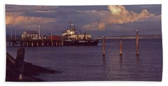 Fuel Dock, Port Townsend Bath Towel by Laurie Stewart