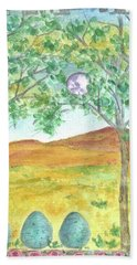 Hand Towel featuring the drawing Full Moon And Robin Eggs by Cathie Richardson