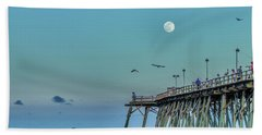 Full Moon At Kure Beach Pier Hand Towel by Phil Mancuso
