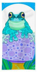 Hand Towel featuring the digital art Full Moon Froggy  by Nick Gustafson
