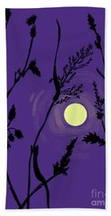 Full Moon In The Wild Grass Bath Towel