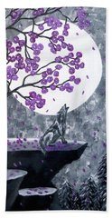 Hand Towel featuring the painting Full Moon Magic by Teresa Wing