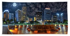 Full Moon Over Bayfront Park In Downtown Miami Hand Towel