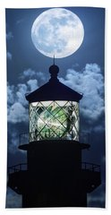 Bath Towel featuring the photograph Full Moon Over Hillsboro Lighthouse In Pompano Beach Florida  by Justin Kelefas