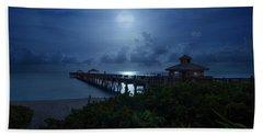 Full Moon Over Juno Beach Pier Hand Towel