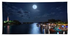 Full Moon Over Jupiter Lighthouse And Inlet In Florida Hand Towel