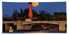 Full Moon Over Jupiter Lighthouse, Florida Hand Towel