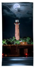 Full Moon Over Jupiter Lighthouse On Christmas Night 2015 Hand Towel