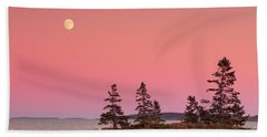 Hand Towel featuring the photograph Full Moon Over Maine  by Emmanuel Panagiotakis