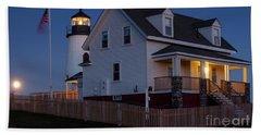 Full Moon Rise At Pemaquid Light, Bristol, Maine -150858 Bath Towel by John Bald