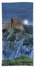 Full Moon Rising Behind Half Dome Hand Towel by Jim And Emily Bush
