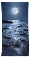 Full Moon Rising Over Coral Cove Beach In Jupiter, Florida Hand Towel