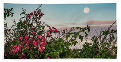 Hand Towel featuring the photograph Full Moon Sets Over Wild Irish Roses In County Clare by James Truett
