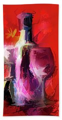 Fun Colorful Modern Wine Art   Hand Towel
