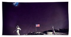 Bath Towel featuring the digital art Fun On The Moon by Methune Hively