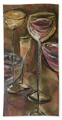 Fun Wine Glasses Bath Towel