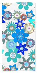 Funky Flower Pattern Bath Towel by Methune Hively