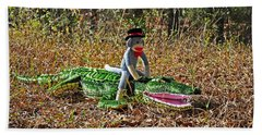 Hand Towel featuring the photograph Funky Monkey - Reptile Rider by Al Powell Photography USA
