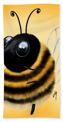 Hand Towel featuring the painting Funny Bee by Veronica Minozzi