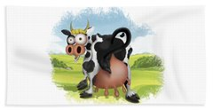 Bath Towel featuring the drawing Funny Cow by Julia Art