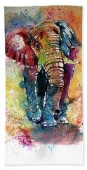 Hand Towel featuring the painting Funny Elephant by Kovacs Anna Brigitta