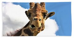 Funny Face Giraffe Bath Towel by Sheila Brown