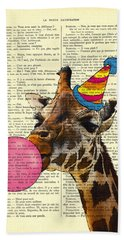 Funny Giraffe, Dictionary Art Hand Towel
