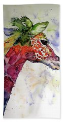 Funny Giraffe Hand Towel by Kovacs Anna Brigitta