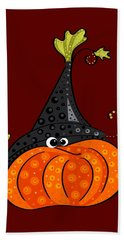 Bath Towel featuring the painting Funny Halloween by Veronica Minozzi