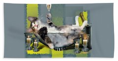 Funny Pet Print With A Tipsy Kitty  Hand Towel