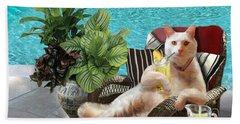 Funny Pet  Vacationing Kitty Hand Towel