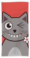 Funny Winking Cartoon Kitty Cat Hand Towel
