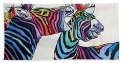 Funny Zebras Bath Towel by Kovacs Anna Brigitta