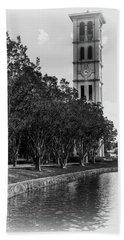 Furman University Bell Tower Greenville South Carolina Black And White Bath Towel